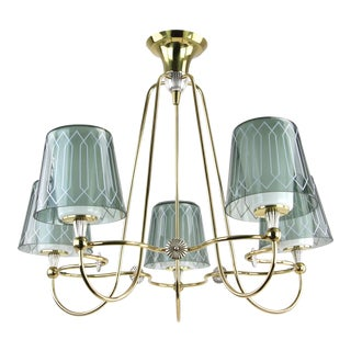 Gerald Thurston Lightolier Brass 5-Light Chandelier