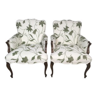 1940s Embroidered Crewel Chairs - A Pair