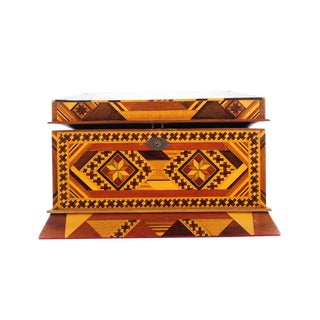 Vintage Geometrical Design Wooden Jewelry Box