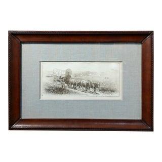 Edward Borein-Emigrant Train-Cowered Wagon w/Bulls-Original Etching-Pencil Signed