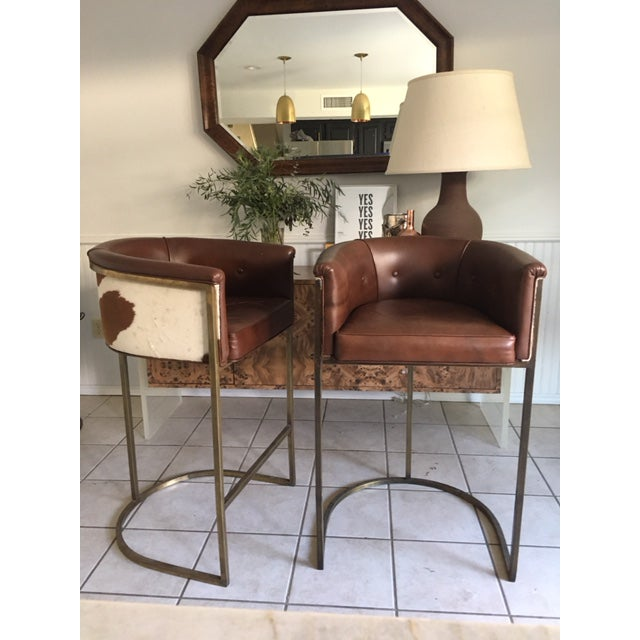 Arteriors Calvin Leather Bar Stools - A Pair - Image 2 of 6