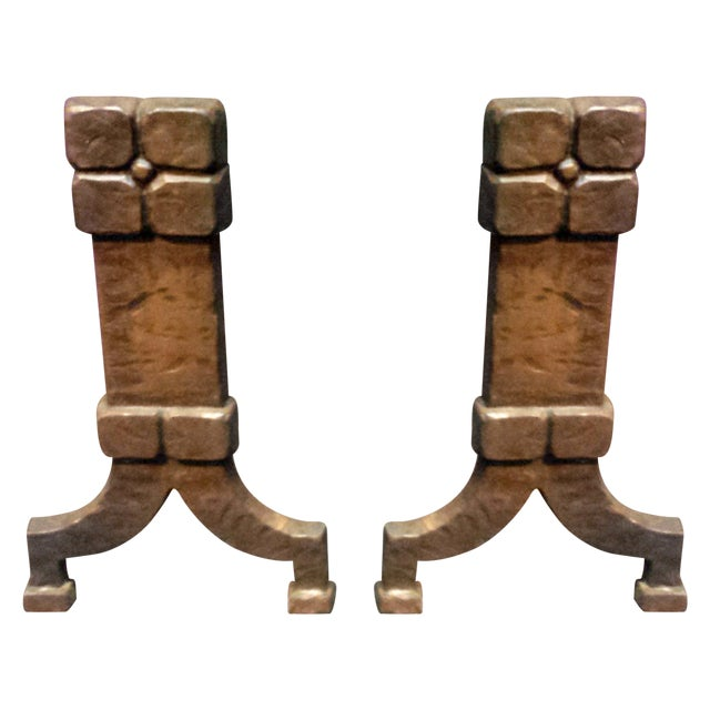 Image of Arts & Crafts Bronze Andirons - A Pair