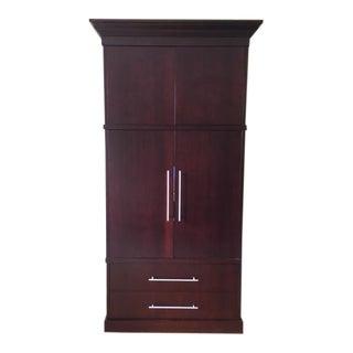 Custom Made Dark Wood Media Armoire/Storage Cabinet