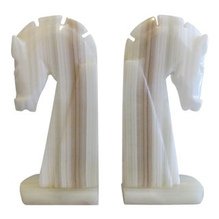 Pair of Neo-Classical White Onyx Horse Head Bookends