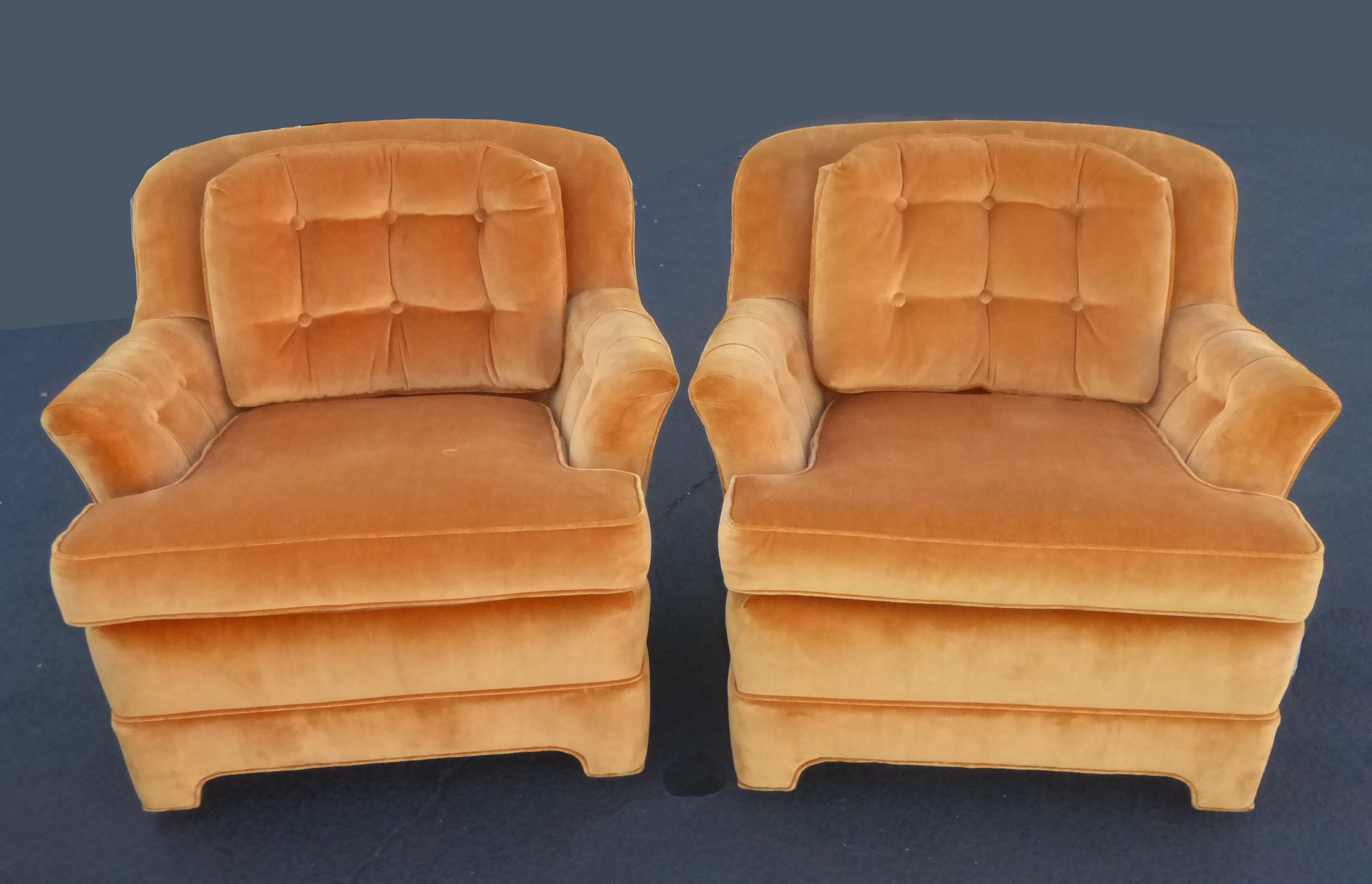 Mid Century Tufted Orange Velvet Accent Chairs   A Pair By Marge Carson    Image 5