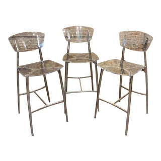 Designer Lucite & Polished Steel Bar Stools - Set of 3