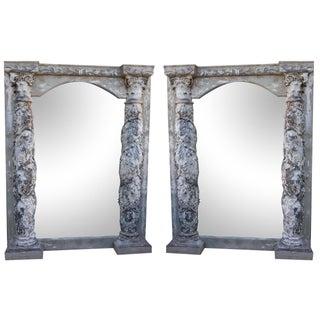Antique Italian Column Mirrors - A Pair