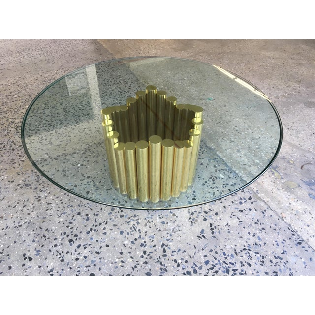 1980's Karl Springer Style Brass Lucite & Glass Cocktail Table - Image 2 of 10