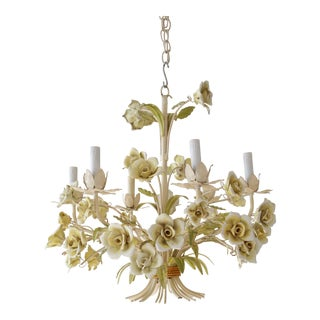 Italian Chandelier with Ceramic Flowers