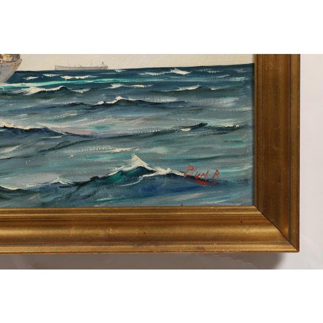 "Danish Painting ""Sailing Ship"" - Image 3 of 3"