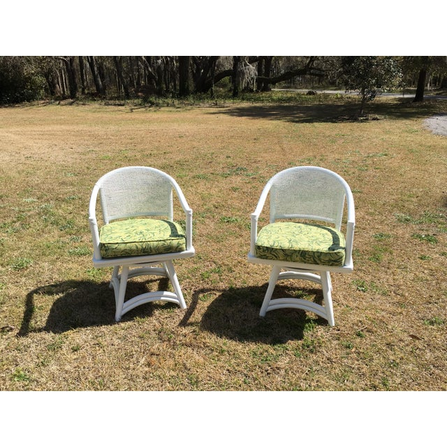 Ficks Reed Cane Swivel Chairs - A Pair - Image 4 of 10