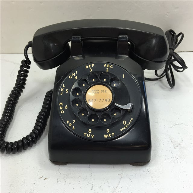 Vintage 1950s Black Rotary Dial Telephone - Image 2 of 11