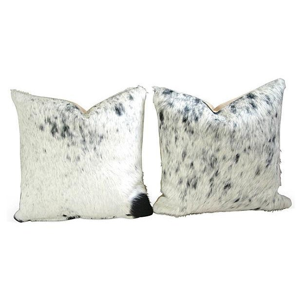 Black, White & Gray Cowhide Pillows - A Pair - Image 1 of 6