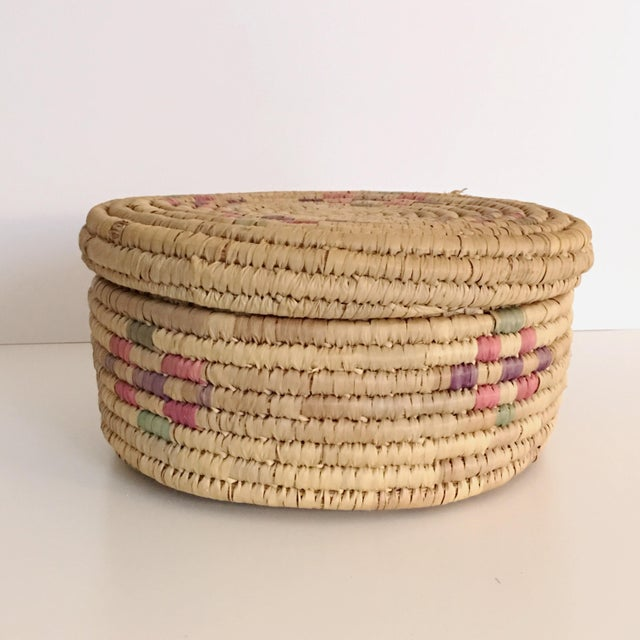 Vintage Boho Chic Hand Woven Basket - Image 3 of 7