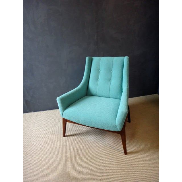 Image of Mid-Century Reupholstered Turquoise Club Chair