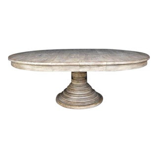 Custom Oak Wood Beehive Pedestal Table with Leaves
