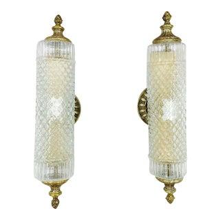 Vintage Cut Glass Sconces - Pair
