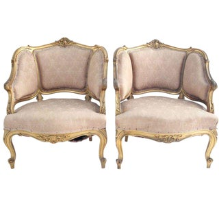 19th Century French Louis XV Bergeres - A Pair