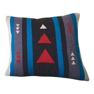 Red and Turquoise Wool Pillow Cover