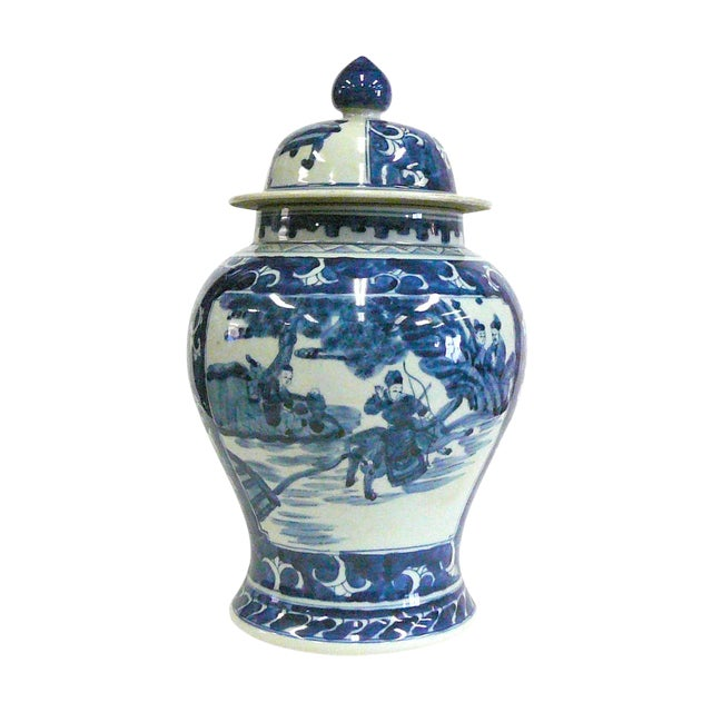Chinese Blue And White Porcelain Temple Jar - Image 1 of 6
