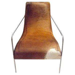 Art Deco Style Cow Hide Upholstered Club Chair