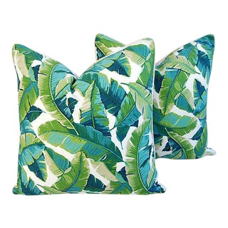 """24"""" Square Custom Tailored Tropical Banana Leaf Feather/Down Pillows - a Pair"""