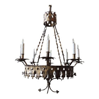 Early 20th C Spanish Gilt and Iron Chandelier