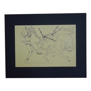 Mid 20th Century Original Ink Drawing By Listed U.S. Artist D. Fredenthal