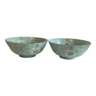 Teal Japanese Porcelainware Bowls - A Pair