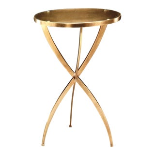 Two French 1940s Style Round Solid Brass Side Tables