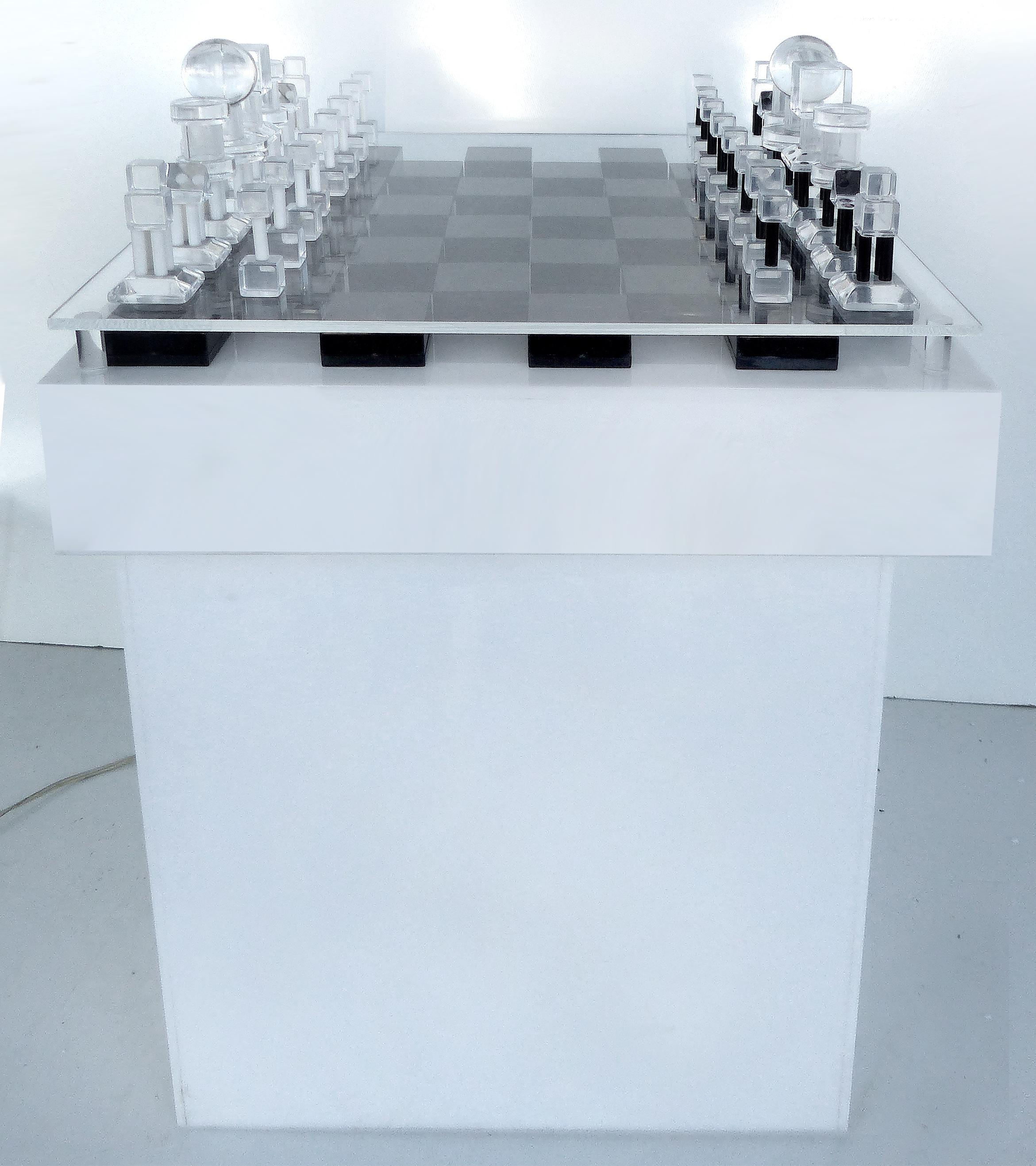 Modern Chess Table mid-century modern lucite & acrylic lighted chess table | chairish