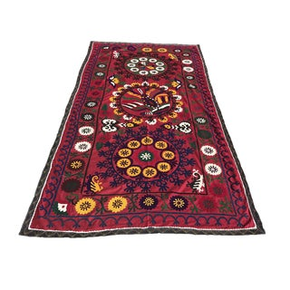 Suzani 'Peacemaker Bird & Flowers' Colorful Textile