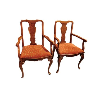 Antique Queen Anne Mahogany Dining Chairs - A Pair