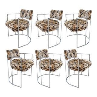 Six Mid-Century Chrome Milo Baughman Dining Chairs