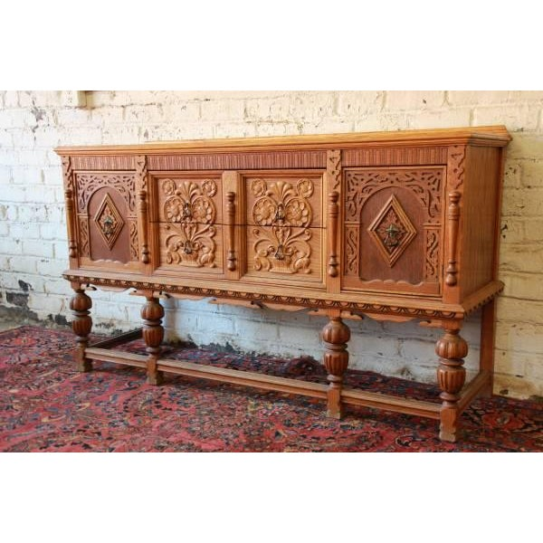 Antique Spanish Revival Oak Sideboard Buffet - Image 3 of 8