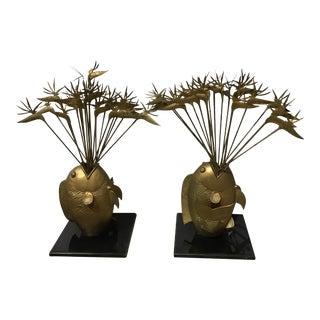 Gilt Bronze Fish & Bird of Paradise Sculptures- A Pair