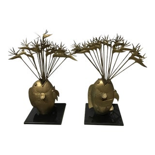 Gilt Bronze Fish & Bird of Paradise Sculptures- A Pair