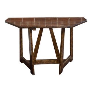 Pair of Walnut Demilune Tables