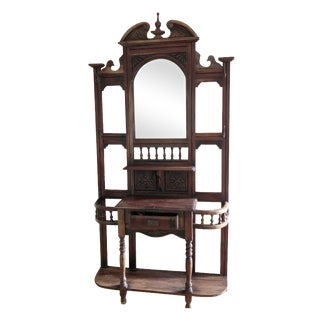 Large Antique Wooden Hall Tree Beveled Mirror