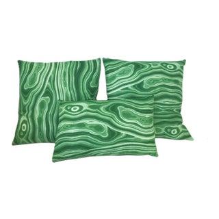 Green Malachite Patterned Pillows - Set of 3