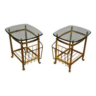 Brass End Tables Magazine Racks - Pair