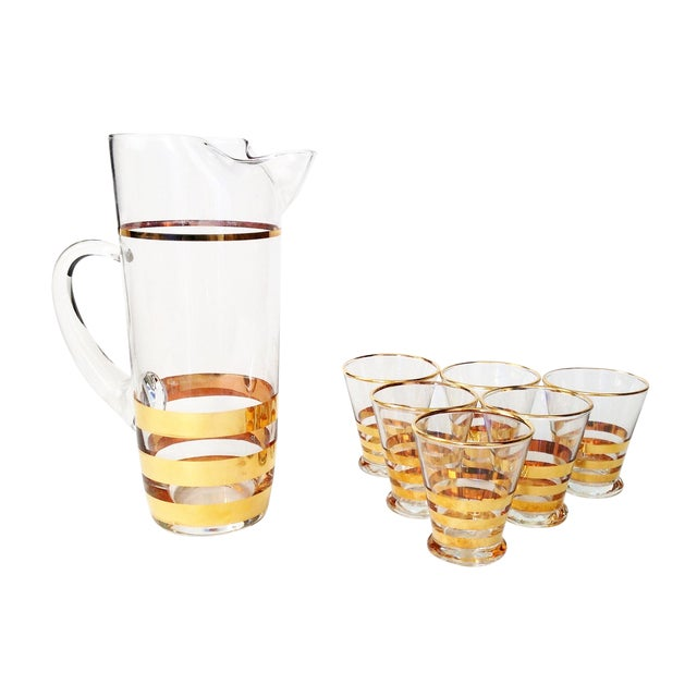 Image of Mid-Century Gold Striped Pitcher & Six Glasses