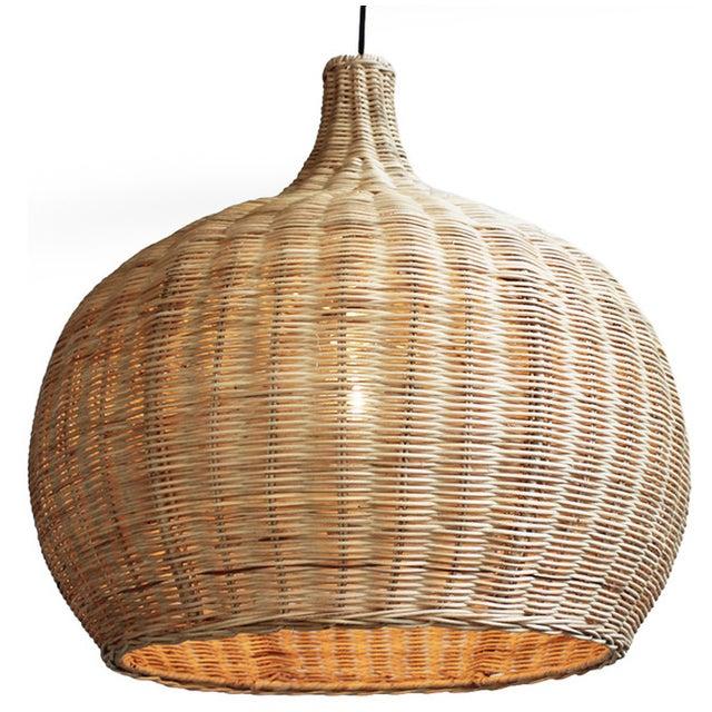 Large Raw Wicker Bell Lantern - Image 1 of 3