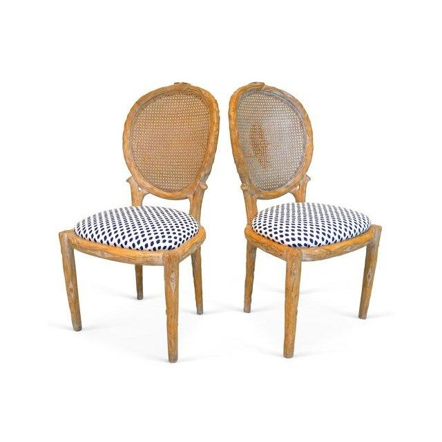 Vintage Faux Bois & Cane Dining Chairs - Set of 4 - Image 3 of 6