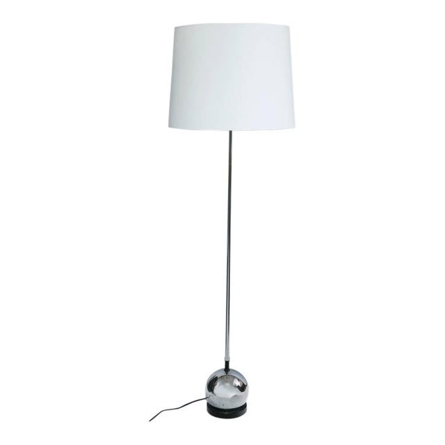 Image of Petite Mid-Century Chrome Ball Base Floor Lamp Attributed to Robert Sonneman