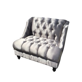 Silver Tufted Oversized Chair