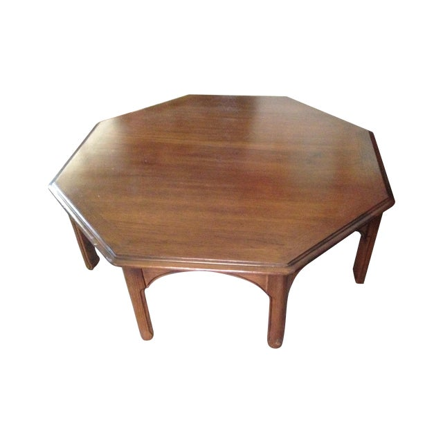 Wooden octagon shape coffee table chairish for Octagon coffee table