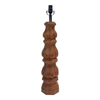 Hand Carved Redwood Lamp