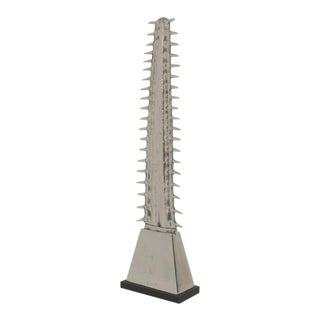 Arthur Court Aluminum Sawfish Rostrum on Black Acrylic Base