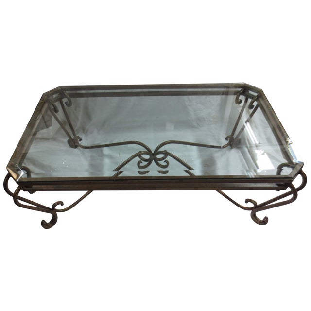 Hollywood Glam Wrought Iron and Glass Coffee Table - Image 1 of 5